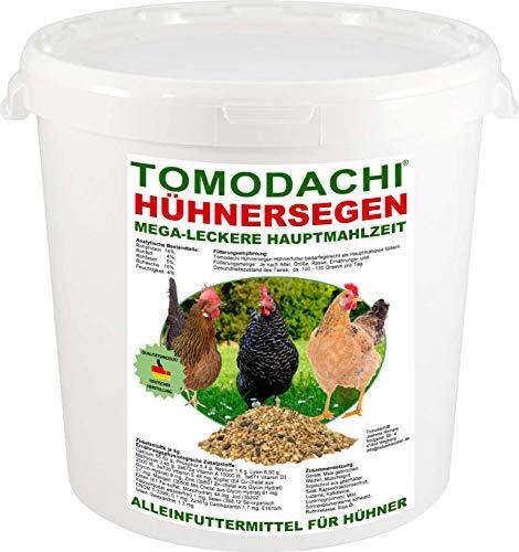 Hühnerfutter, Naturprodukt, hochwertiges Vollwertfutter für Geflügel, calziumreiche Komplettnahrung für alle Hühnerrassen, reich an Omega-3 Fettsäuren, natürlicher Immunschutz, Qualitäts Körnermischung für gesunde, glückliche Hühner, Tomodachi Hühnersegen 1kg Eimer