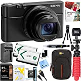 Sony DSC-RX100M6 RX100 VI Cyber-Shot Digital Camera 20.1 MP with 24-200mm Zoom Lens + Lexar 64GB SDHC/SDXC UHS-I Card + Dual Battery Kit + Accessory Bundle