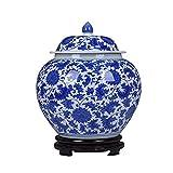 TRTT Jarrn Chino Tradicional Azul y Blanco Jarrn de Porcelana de cermica Jarrones Decorativos Antiguos Jarrn Antiguo de Estilo Chino Ming con Base Jarrn de Tarro de Templo Hecho a Mano-a