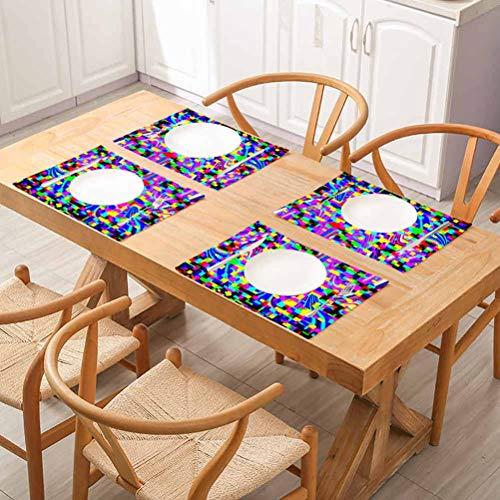 FloraGrantnan - Manteles individuales antideslizantes para mesa de comedor, diseño psicodélico, fondo brillante, tamaño XXL, fácil de limpiar, juego de 8