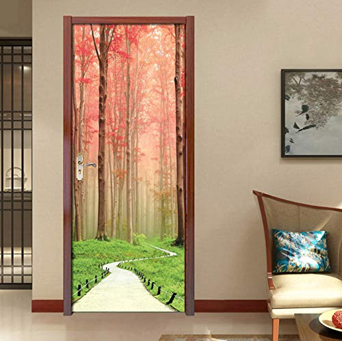 PVC DlY Türaufkleber selbstklebend Waterproof Red Forest Path Wallpaper Wohnzimmer Tür Decals Home Decor Detachable 3D Murals