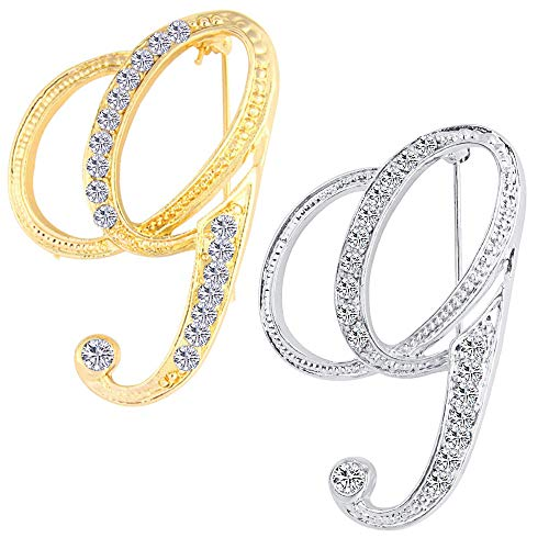 ETHOON 2 Pcs Letter Brooch Pins Initial Rhinestone Brooch for Women Corsage Crafts Gold Silver G