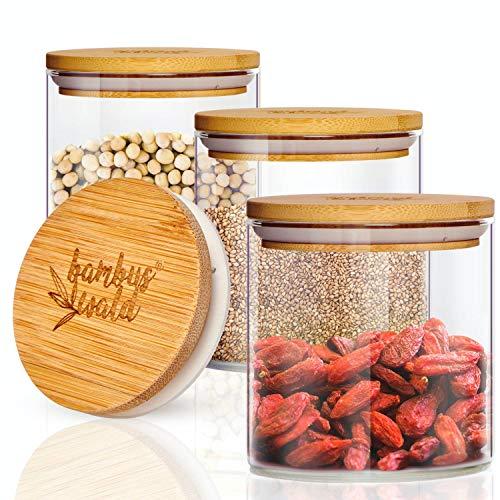 bambuswald© 3er Set Glasbehälter   Vorratsgläser mit luftdichten Deckel aus Bambus & 300ml - Aufbewahrungsglas ideal für Gewürze, Kräuter & Trockenfrüchte aus Borosilikatglas   Vorratsdosen