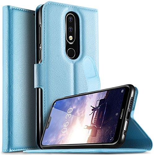 KuGi Nokia 6.1 Plus Custodia, Flip Cover Portafoglio Pelle Protective Wallet Custodia Morbido Caso Guscio con Stand per Nokia 6.1 Plus(blu)