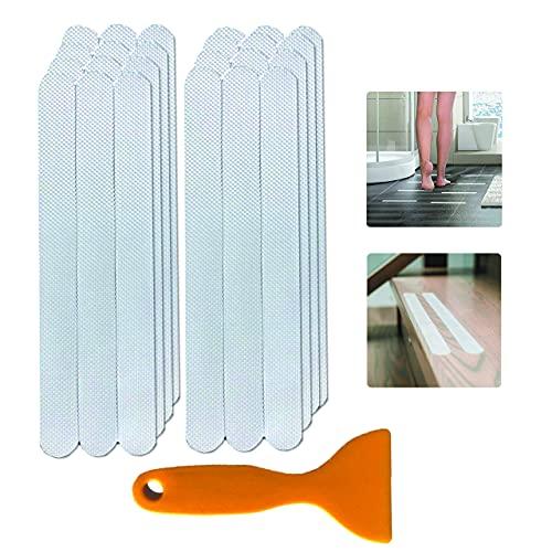 24 Pegatinas Antideslizantes Bañera Transparentes - Tiras Antideslizantes para Escaleras - Ducha y Bañera (20cm X 2cm) con Raspador - Antideslizante Ducha para Adultos y Niños + Raspador