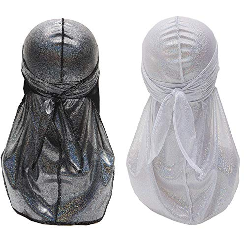 Durags for Men Silky Holographic Durag Wave Cap with Long Tail Doo rags 360 Waves Pirate Caps 2 PCS