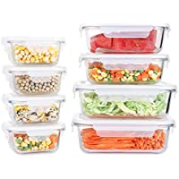 8-Pack Fresh Friend Glass Food Storage Containers w/Lids Airtight BPA Free