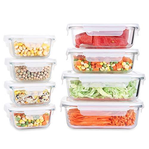 Fresh Friend Vorratsdosen aus Glas mit Deckel, BPA-frei, luftdicht, für Mahlzeiten, auslaufsicher, stapelbar, für Lebensmittel, 8 Stück