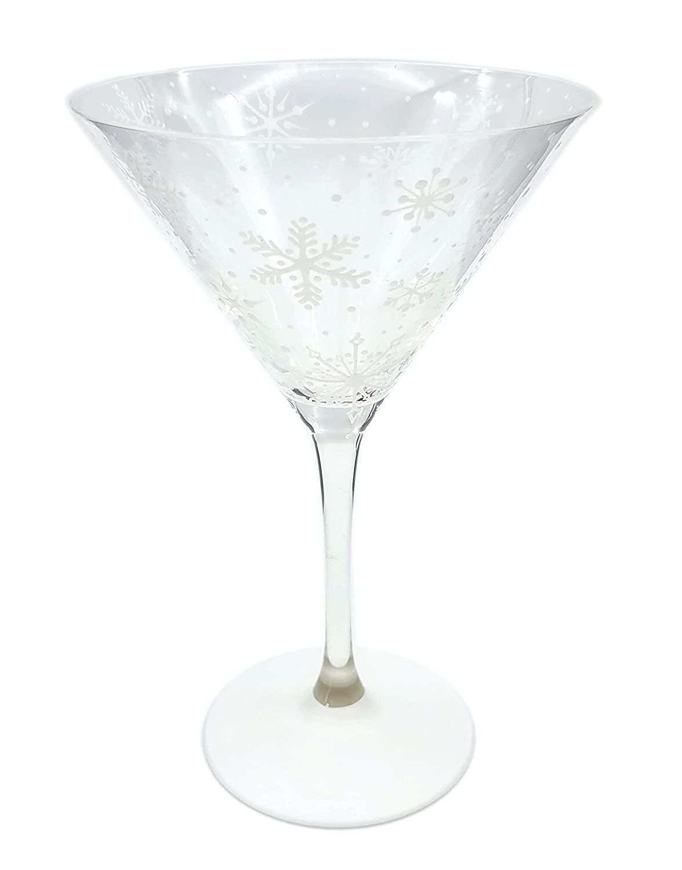 White Snowflake Martini Glass - trend rank Hand Painted Theme Ranking TOP20 Winter Snow