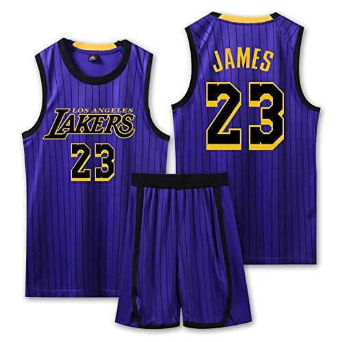 Basketball Trikot für Lebron Raymone James No.23 Laker Fans Basketball ärmellosen Anzug Kinder Erwachsene weiß blau Sportswear T-Shirt Weste Shorts Sweatshirt Jugend-Blue-M