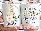 Taza de café DKISEE Future Mrs. Regalo de compromiso, regalo de novia para ser personalizada, taza de boda comprometida, futura señora regalo, taza de té, cerámica, blanco, 15 oz
