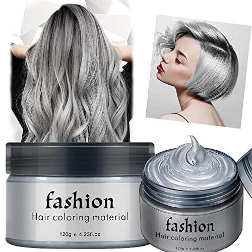 Haarfarbe Wachs Bartfarbe Temporäre Frisuren Creme, Haarwachs Unisex DIY Haarformung Cream Natürliche Matte Frisur für Party Cosplay Halloween,Grau