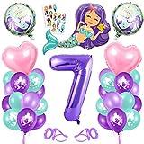 Bluelves Luftballon 7. Geburtstag Meerjungfrau Deko,7 Jahr Geburtstagsdeko Mädchenn,Lila Riesen Birthday Zahlen 7 Folienballon,Kindergeburtstag Dekoration 7 Mädchen,Ballon Meerjungfrauen Thema Party