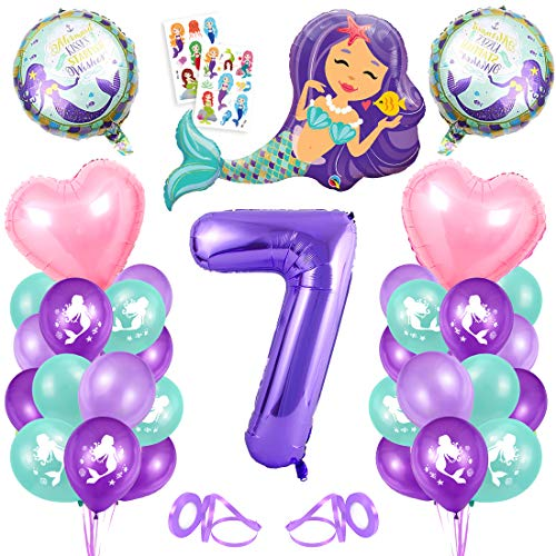 Sirena Decoración de Cumpleaños 7,Numero 7 Morado Gigantes Aluminio Globos Decoracion,Globos 7 año Cumpleãnos Sirena Niña Látex Globos Fiesta Party Decoración