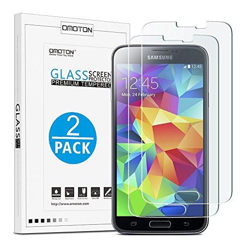 [2 Stück] OMOTON Panzerglas Bildschirmschutzfolie für Samsung Galaxy S5, Anti-Kratzen, Anti-Öl, Anti-Bläschen,2.5D