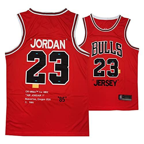 YPKL Jordan Jersey, Bulls 23# Baloncesto de los Hombres Jerseys Swingman, Unisex Malla Conmemorativa Sin Mangas Secado rápido Sports Chaleco (S-2XL) Red-M