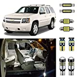 AUTOGINE 14 Piece White Interior LED Lights Kit for Chevrolet Chevy Tahoe/Suburban or GMC Yukon 2007 2008 2009 2010 2011 2012 2013 2014 Super Bright 6000K LED Light Bulbs Package + Install Tool