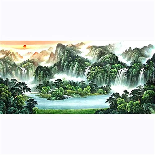 DIY 5D Diamond Painting by Number Kits Landscape Waterfall Large Size Adult Diamond Art Full Drill Crystal Rhinestone Embroidery Cross Stitch Arts Craft Pasted Canvas Home Wall Decor Gift 70x200cm
