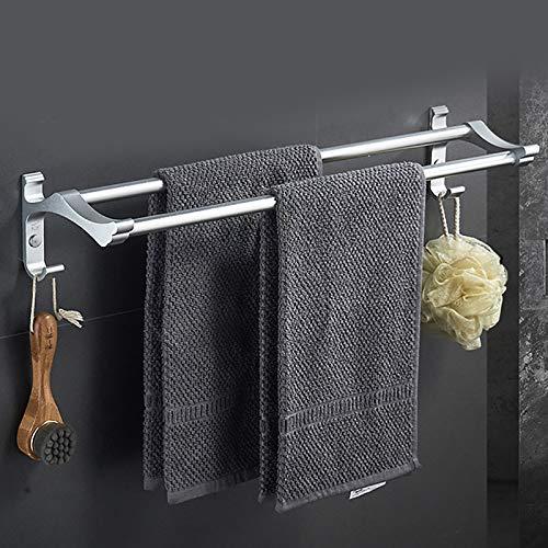 ZDFDC Barra de Toalla para baño Perchero para Toallas Espacio en el Estante Aluminio no Perforado Colgante de Pared Baño Barra Doble Baño Barra Simple para Colgar Toallero