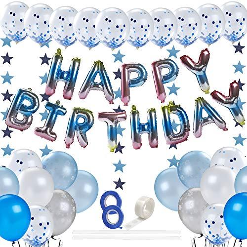 EXTSUD Geburtstag Dekorationen, Happy Birthday Luftballons Set mit Latexballon 3M Pentagramm Banner Klebepunkt Balloon Ribbon Ballon Geburtstagsfeierzubehör für Party Geburtstagsfeier