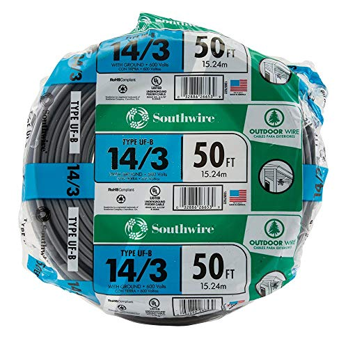 Southwire 13057522 Romex SIMpull 14/3Uf-Wgx50 Type Uf-B Building Wire, 14/3, 50 Ft, Pvc, Feet
