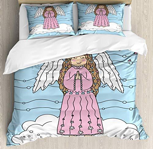 Bettwäsche-Set mit Engelsflügeln, Mädchen auf Wolken, Betende für Liebe, Weihnachten, Herzen, Kritzeleien, Mikrofaser, Daunendecke mit Reißverschluss, Blassblau, Weiß und Rosa, für Doppelbetten