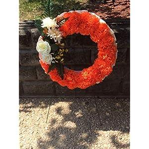 Cemetery Flowers, Orange Memorial Wreath