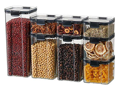 8 Pack Airtight Food Storage Container Set, Kitchen & Pantry Organization Containers for Cereal, Pasta & Flour - BPA-Free, Labels + Marker - One Lid Fits All - Reusable.