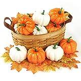 DomeStar Artificial Pumpkins, 12PCS Mini Fake Pumpkins with 30PCS Lifelike Maple Leaves, Faux Pumpkins Artificial Vegetables for Halloween Thanksgiving Decorations