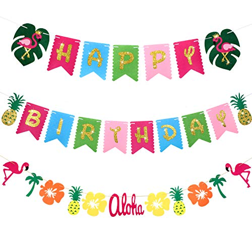 LuauBirthdayBanner Hawaiian Party Decoration Luau Tropical Birthday Party Banner Bunting Flamingo Garland Hanging Decoration for Beach Pool Summer Party Supplies