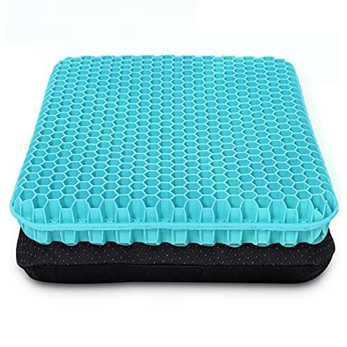 Cuscino per sedile in gel spesso, con rivestimento antiscivolo, traspirante, design a nido d'ape, assorbe i punti di pressione per auto, sedia a rotelle (blu latte)