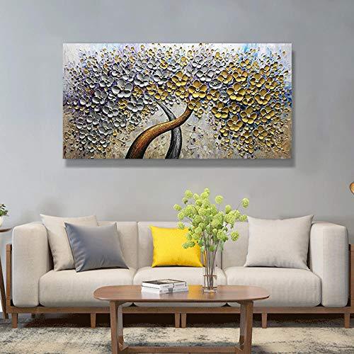 Olieverfschilderijen Op Doek Handgeschilderd, Abstract Plant Boom, Mooie Dikke Gouden Witte Bloem Boom, Hedendaagse Grote Maat Handgeschilderde Kunstwerk Schilderen Voor Thuis Woonkamer Slaapkamer Interieur D 140×280cm