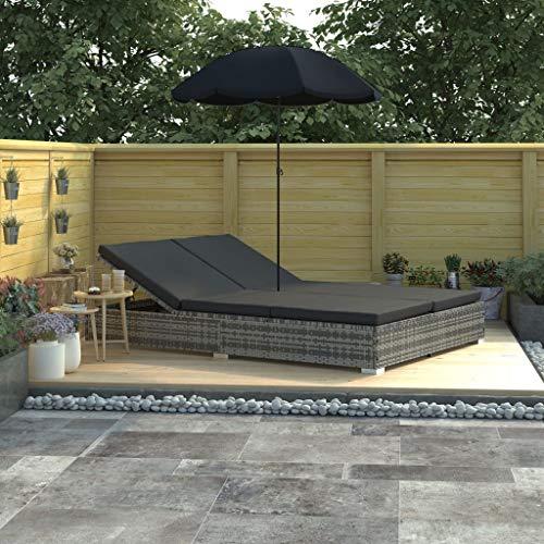 vidaXL Sonnenliege mit Sonnenschirm Doppelliege Gartenliege Relaxliege Liege Liegestuhl Gartenmöbel Rattanmöbel Sonnenbett Poly Rattan Grau