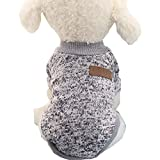 Mummumi Small Dog Clothes, Puppy Soft Thickening Warm Autumn Outwear Cat Windproof Dog Knit Sweaters Winter Clothes Outfit Apparel for Small Dog Chihuahua,Yorkshire, Terrier, Poodle (S, Gray)
