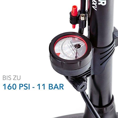 Camden Gear Fahrradpumpe, Luftpumpe für Fahrrad mit Alle Ventile z.B. Französisches und Auto Ventil, Standpumpe mit Manometer Fahrradluftpumpe Adapter - 3