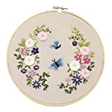 Rehomy Kit de punto de cruz floral para principiantes, adultos y niños, tela de bordado con patrón + gancho de bambú + herramientas + aros de bordado.