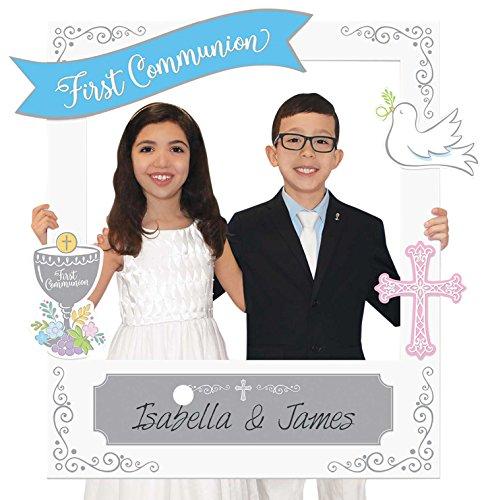 amscan 399737 Marco de fotos de primera comunión con complementos personalizables (15 piezas), 1 paquete