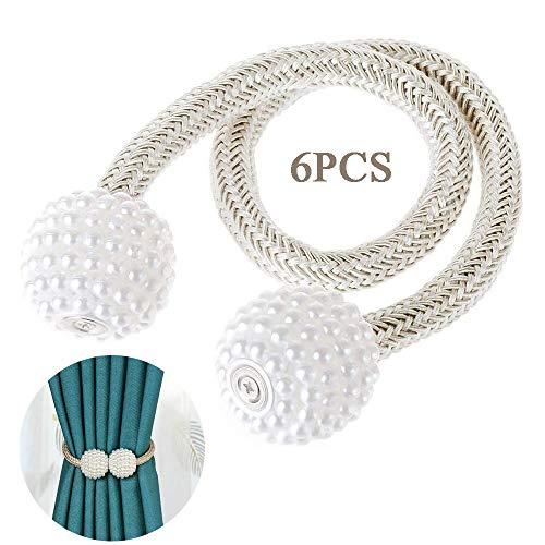 Creativee Magnetische Vorhang-Raffhalter, 43,2 cm dick, Perlen-Magnetschnallen, Vorhang-Clips, Seil, Halterungen, Vorhanghalter (Champagner), 6 Stück