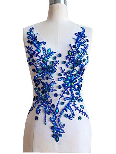 Pure hand gemaakte kristallen patches Naai op strass Applique Knit Trim 50 x 30 cm jurk Accessoire Blauw