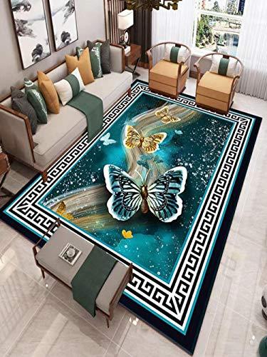 CQIIKJ Alfombra Impresa Mariposa Blanca Azul Cielo Estrellado Negro Alfombra Antideslizante Lavables 80 x 160 cm Alfombras Dormitorio salón alfombras alfombras de habitación.