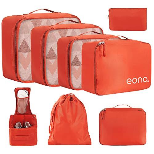 Eono by Amazon - Organizer Valigia Set di 8, cubi da viaggio, cubi di imballaggio organizer valigia essential organizer borse da viaggio impermeabili sacchetto da viaggio Arancione