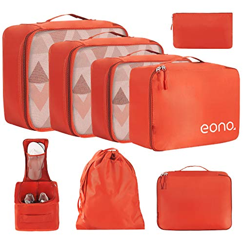 Eono by Amazon - 8 Set Cubos de Embalaje, Organizadores para Maletas, Equipaje de Viaje Organizadores, con Bolsa de zapatos, Bolsa de Cosméticos y Bolsa de Lavandería, Naranja