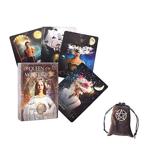 Reina de la Luna Oracle Tarjetas Tablero Tablero Deck Juegos Tarot Tarjetas Adivinación Divinación Tarjeta Tarjeta Tarjeta Familia Familia Regalo,with Bag,Standard