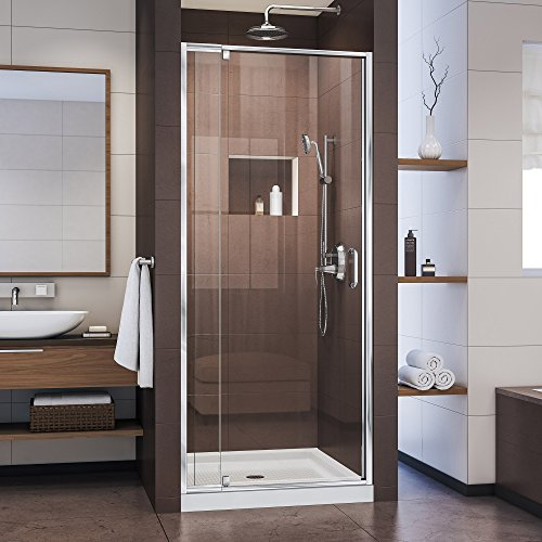 DreamLine Flex 32-36 in. W x 72 in. H Semi-Frameless Pivot Shower Door in Chrome, SHDR-22327200-01