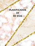 Planificador de 90 Días: Ideal Para la Escuela, el Estudio y la Oficina | Organizador del Programa Mensual | Mármol Beige Rosa y Oro | Planificador Semanal de 3 Meses, 12 Semanas