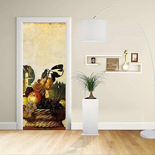 Autocollant de porte - Design- Panier de fruits Caravaggio - Décoration adhésive pour portes meubles maison-Print pour porte dimensions personnalisables-impression sur PVC (CM 60X210)