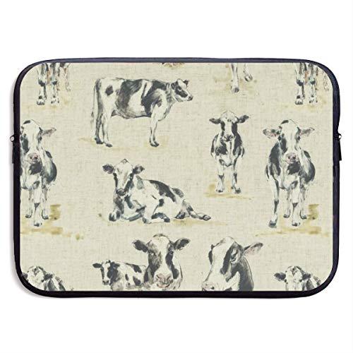 HOODSWOP Cow Background Print Waterproof Laptop Sleeve, Laptop Sleeve Bag- Stylish Cute Neoprene Notebook Carrying Case Handbag for 13' 15'