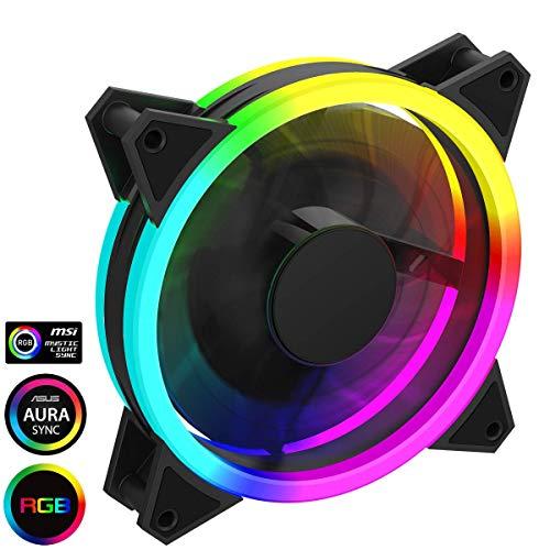 Game Max Velocity PC-ventilator, 120 mm, regenboogled, dual ring, hydraulische lager, 11 blade-ventilatoren, 3-polige AURA-stekker, RGB Mystic Light Sync, zwart