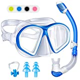 Amconsure Kids Snorkel Set, Dry Top Snorkel Mask for Scuba Diving Snorkeling with Anti-fog Tempered Glass & Anti-leak Snorkel Gear for Youth Junior Swimming Goggles with Nose Cover 180° Panoramic View