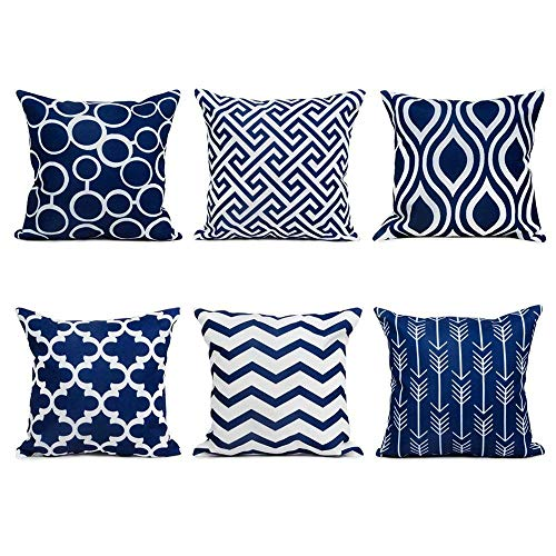 Watopi 6 Pc/Set Navy Geometric Pillowcase Modern Classic Printing Abstract Cushion Cover Soft Cotton Linen 45 x 45cm 1 PC, Invisable Zipper for Gifts Bed Sofa Home Décor Gift